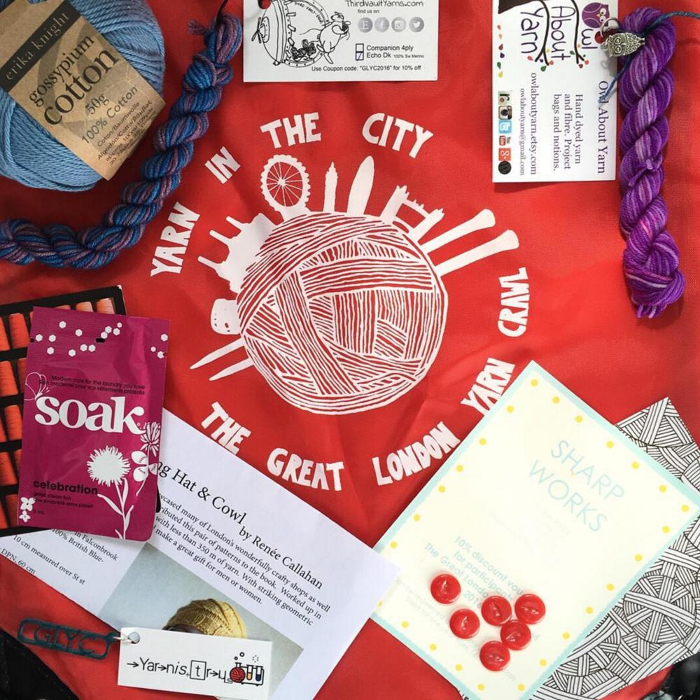 The GLYC2016 goody bag in all it's glory! Photo by @jemarrowsmithknits on Instagram