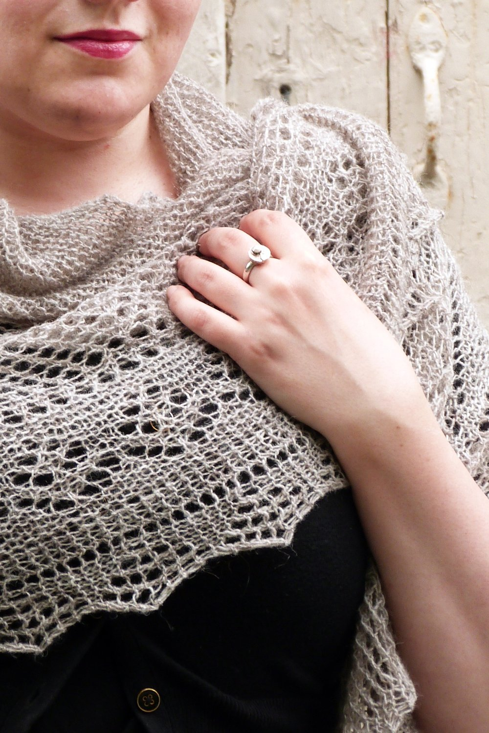 Karie Westermann's stunning Mahy shawl uses the hap construction techniques taught in her class.