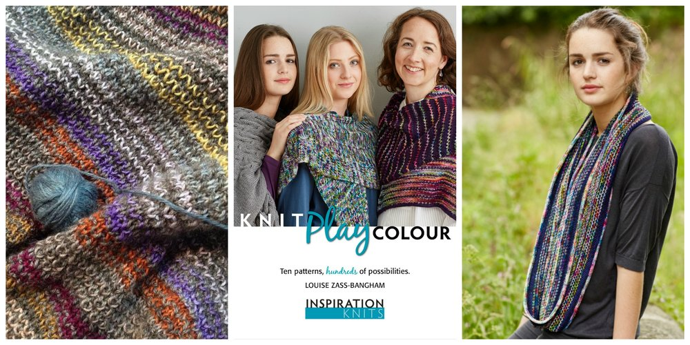 Inspiration Knits designer Louise Zass-Bangham loves to encourage knitters to play with colour. Her popular Yarn Tamer cowl gets a soft, muted approach in Eden Cottage Yarns (left) and delivers over the top impact in Countess Ablaze yarns (right).