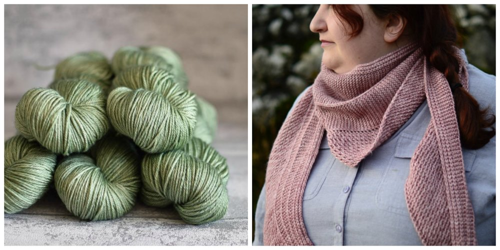 Louise's Colour Trail scarf worked up in the delicate hues of Eden Cottage Yarn's Oakwood DK.