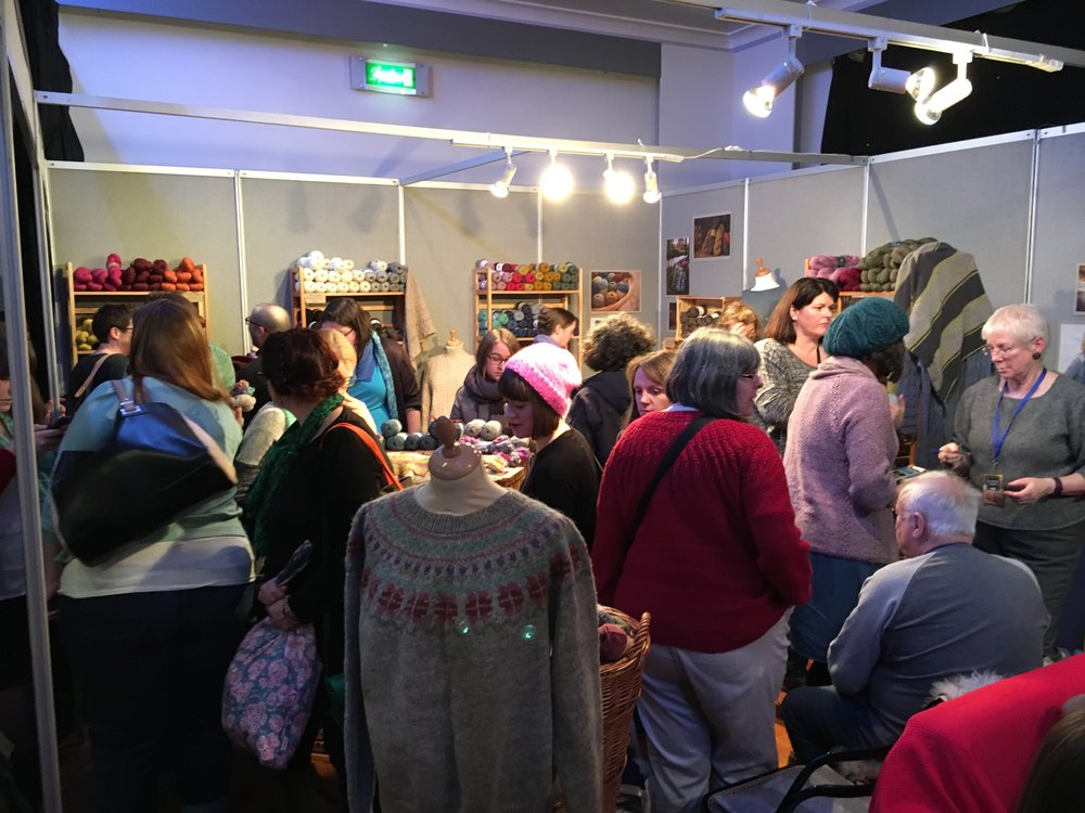 The Blacker Yarns stand at EYF - conveniently located right next to the Podcast Lounge!