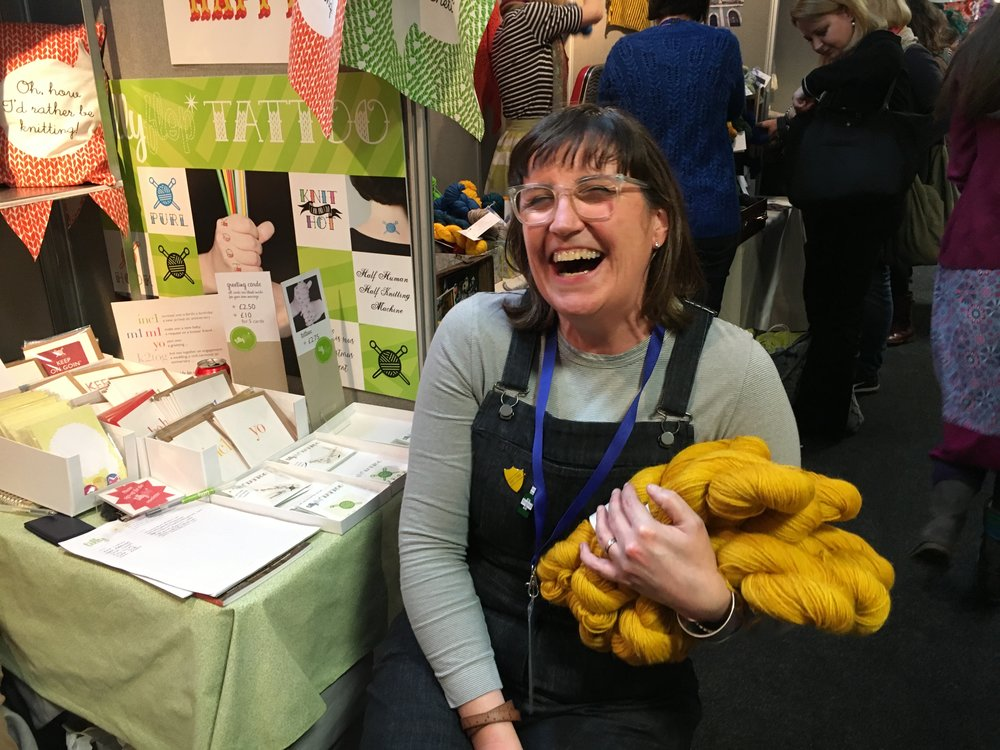 Everyone was overcome by the yarn fumes at EYF! We love this shot of pure joy on Julie (of Tillyflop)'s face at having secured a sweater quantity of Triskelion Arthur DK. FAB colour Julie!