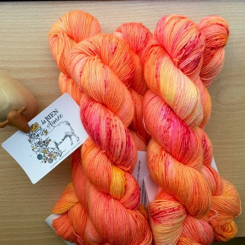 Possibly the best orange ever? Tang, on La Bien Aimée Merino Singles. Photo courtesy of La Bien Aimée.