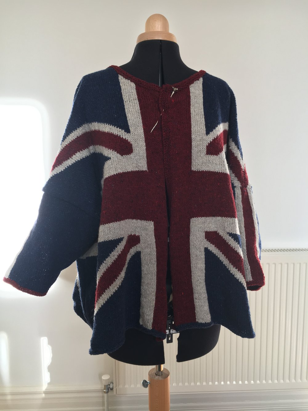 Allison's Union Jack cardigan is her first finished machine knit!