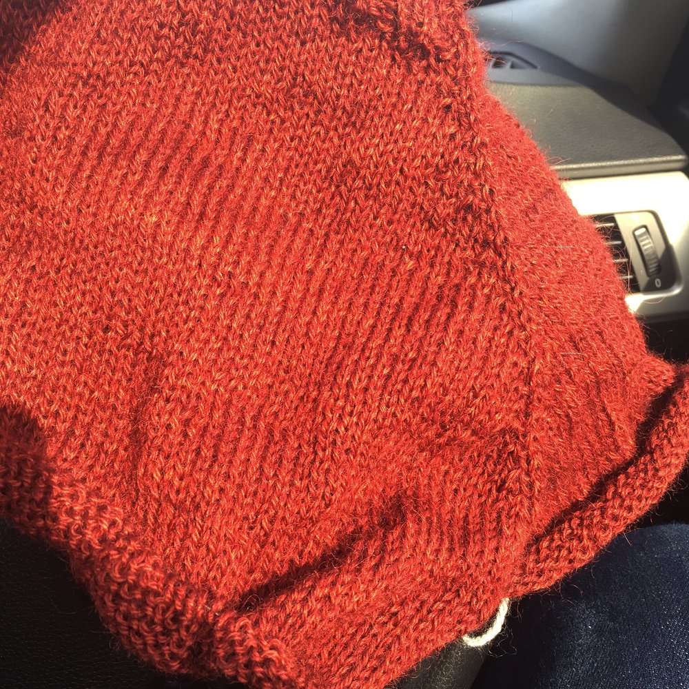 Rachel's new Marginalia pullover is definitely orange, NOT red!, in this photo!