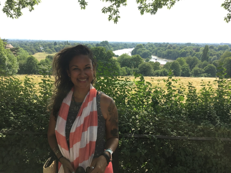 Milli of Tribe Yarns shows off the view of Richmond and the Thames not far from the new shop. Opens August 15th!