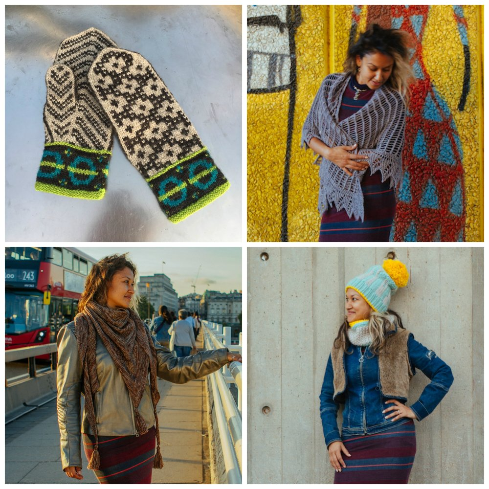 Clockwise from top left: Underground Mittens by Eli Leistad of Skeindeer Knits, Glasshouse Shawl by Rachel Brown, London Life Hat and Cowl by Allison Thistlewood, and London Lines Shawl by Helen Stewart of Curious Handmade