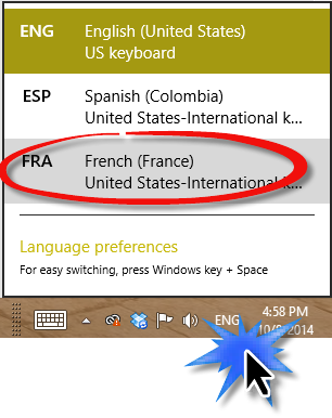 Choose the language you want from the task bar at the bottom right.