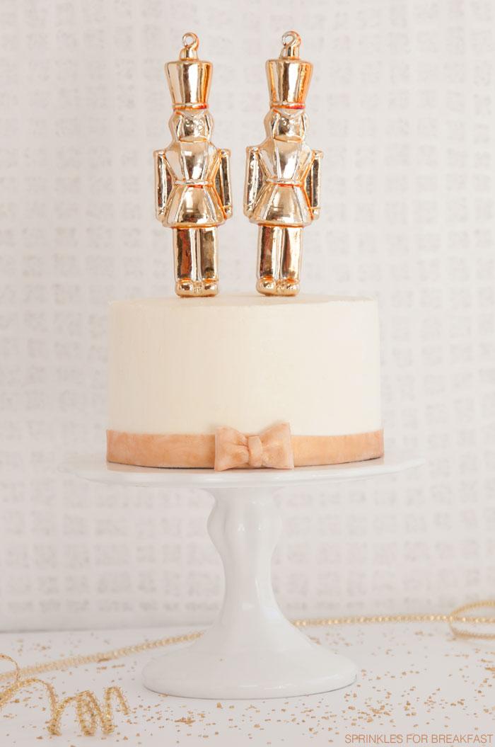 Gold Nutcracker Ornament Cake