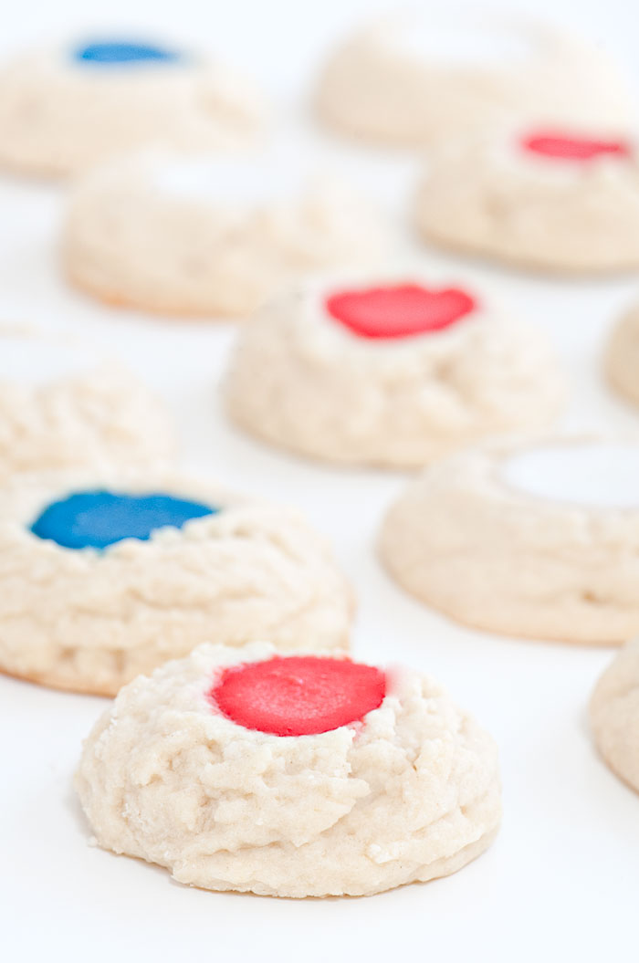 Red White and Blue Thumbprint Cookies | Sprinkles for Breakfast