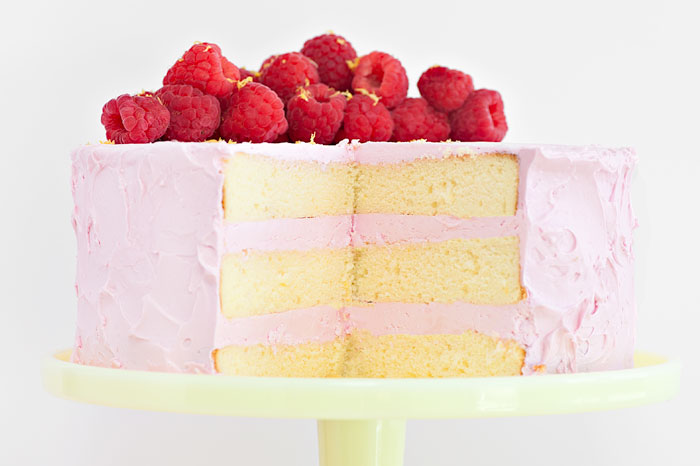 Lemon Cake with Raspberry Meringue
