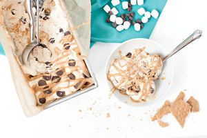 No Churn Peanut Butter S'mores Ice Cream