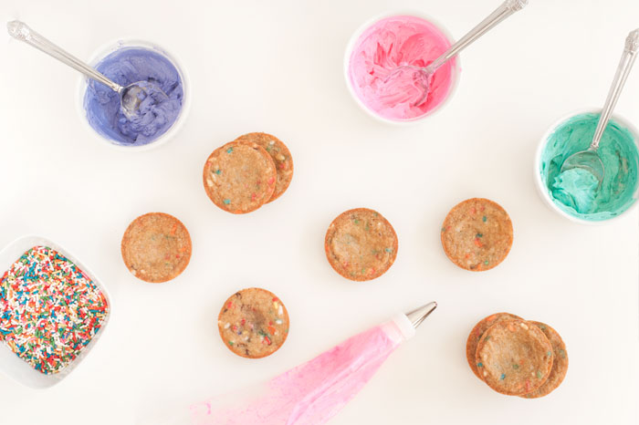 Mini Confetti Chocolate Chip Cookie Cakes | Sprinkles for Breakfast