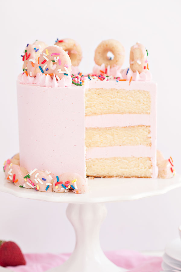 Strawberry Buttermilk Doughnut Cake | Sprinkles for Breakfast