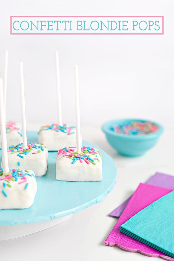 White Chocolate Confetti Blondie Pops | Sprinkles for Breakfast