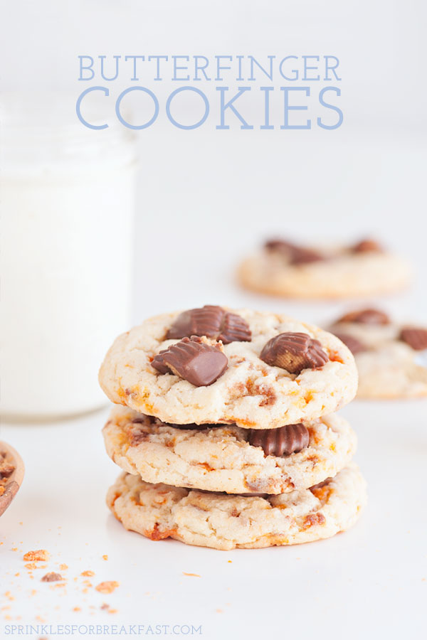 Soft-Baked Butterfinger Cookies | Sprinkles for Breakfast
