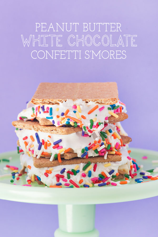 Peanut Butter White Chocolate Confetti S'mores make with homemade mallows!