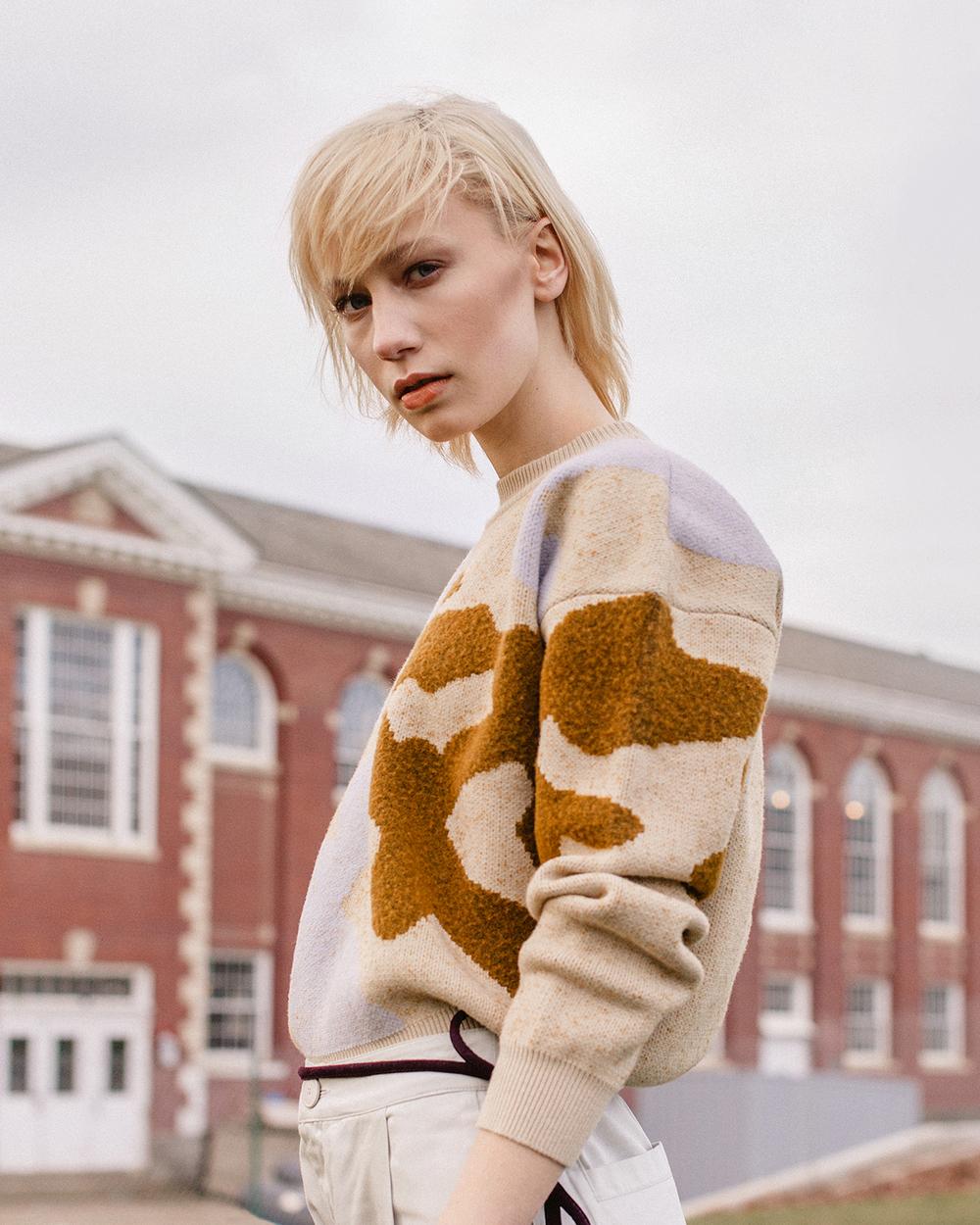 Last Marbler Jacquard Crop Sweater             Nanushka