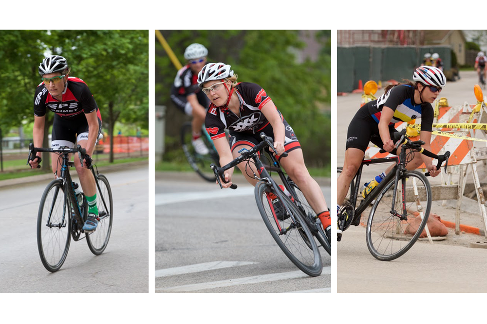 CWEC Riders racing against each other at the East Dundee criterium