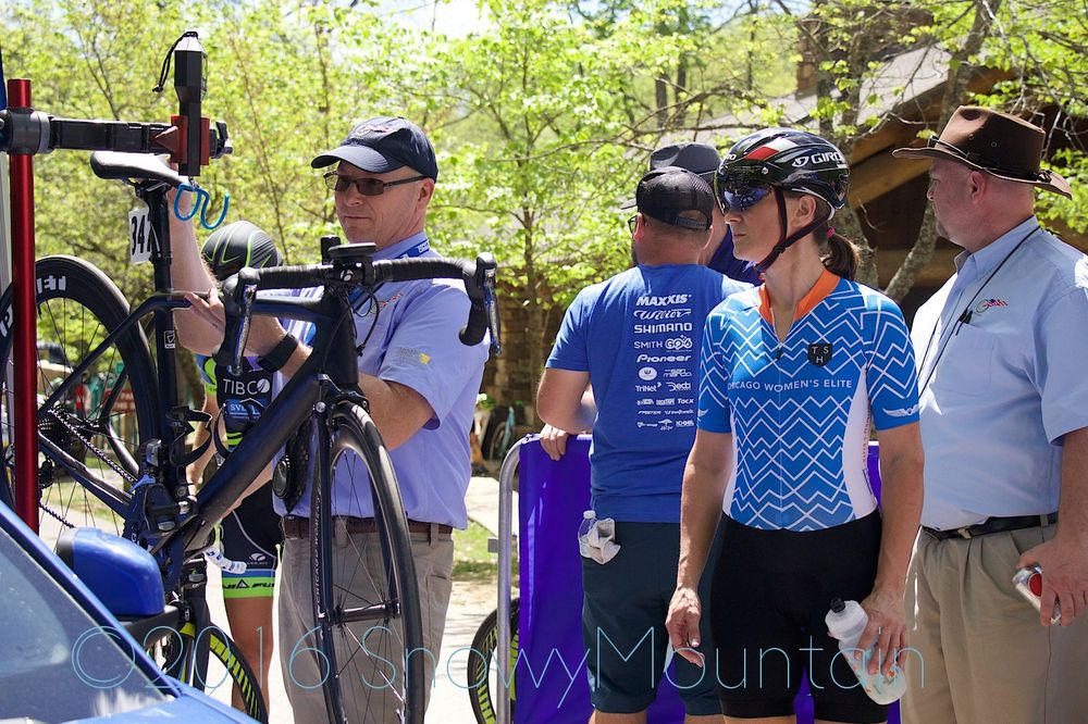 Photo by SnowyMountain Photography. Since UCI regulations applied for Stage 1, riders were required to present themselves to bike check 15 minutes before their posted start time. Bikes were required to weigh in at 6.8kg or more to meet regulation.