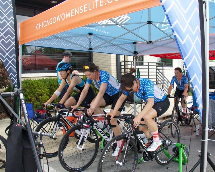 From R to L, Christine Thornburg, Anina Blankenship, Sierra Siebenlist and Nicole Mertz warm up.After being caught in a crash during Stage 3, Nicole Mertz (L) rides on a bike borrowed from CWEC manager Cathy Frampton.