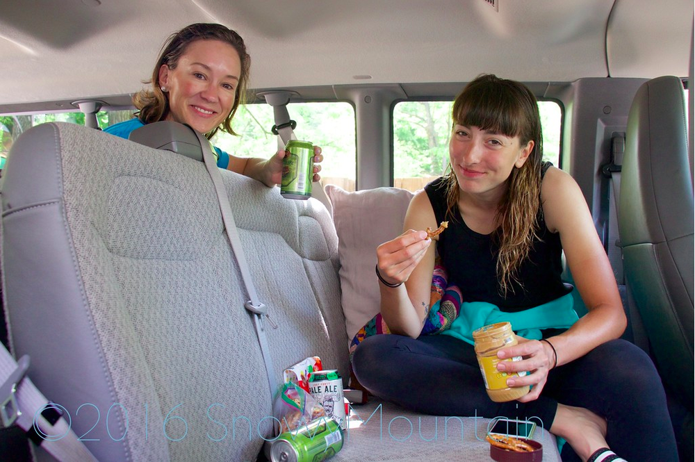 After stage 4, Christine and Daphne enjoy the fruits of their labor - err, beer, peanut butter and pretzels.