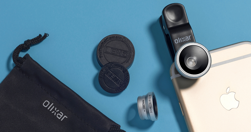 Still life photography, creative product photograph of a 3in1 lens clip for mobile accessory, created by London advertising product photographer chris howlett