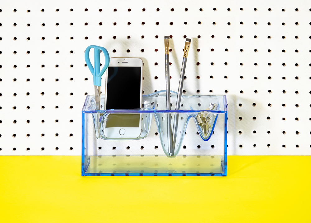 London product photographer, desktop tidy on yellow wall advertising photography