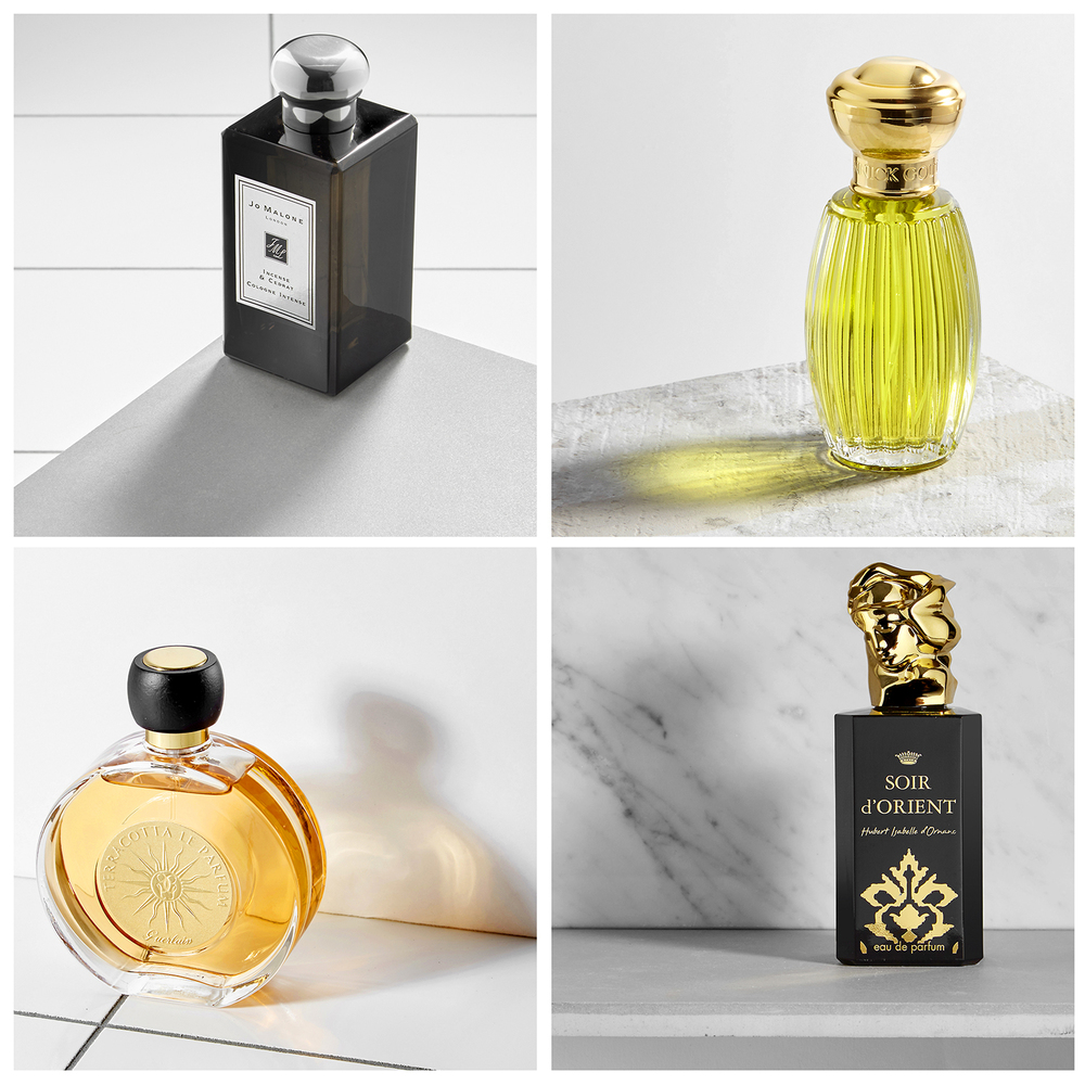 Still Life photographer London. Perfumes on marble packshots and creative product photography for advertising company