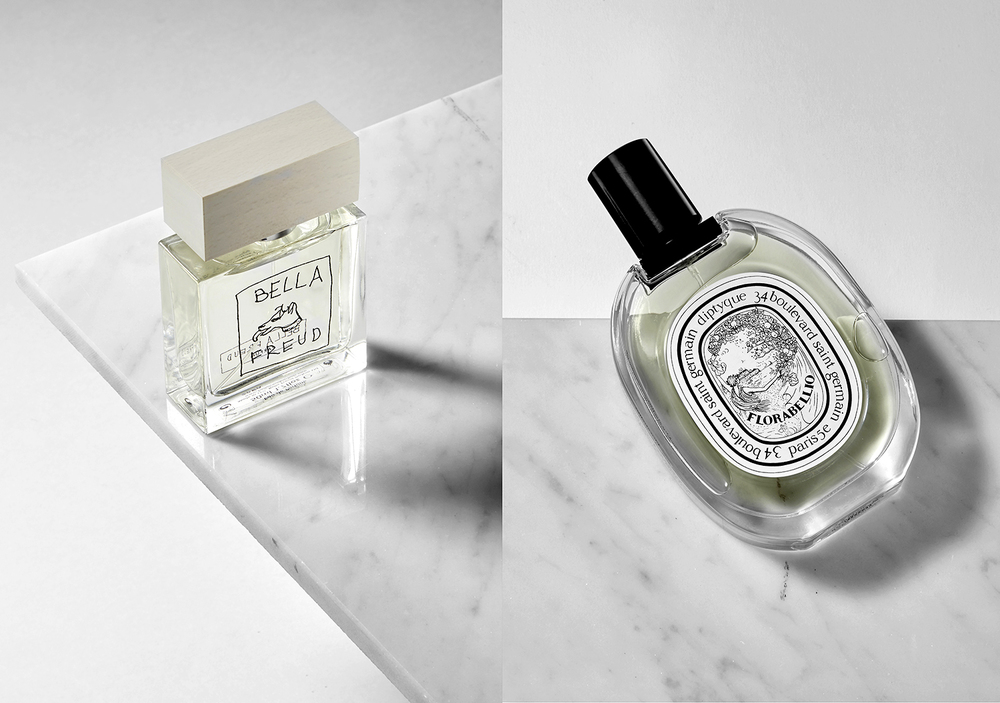 London still life product photographer Chris Howlett. Two perfume bottles on marble providing a luxary look asuirable for advertising photography.