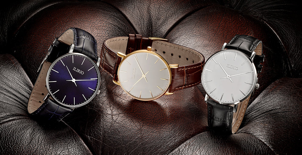Creative advertising jewellery & watch photography. 3 watches on luxury leather still life photographer