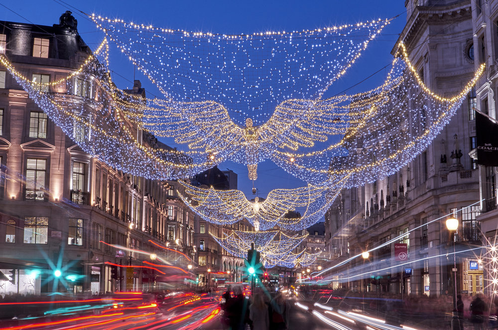 London light trails with this years christmas lights 2016  at dusk along regent street London
