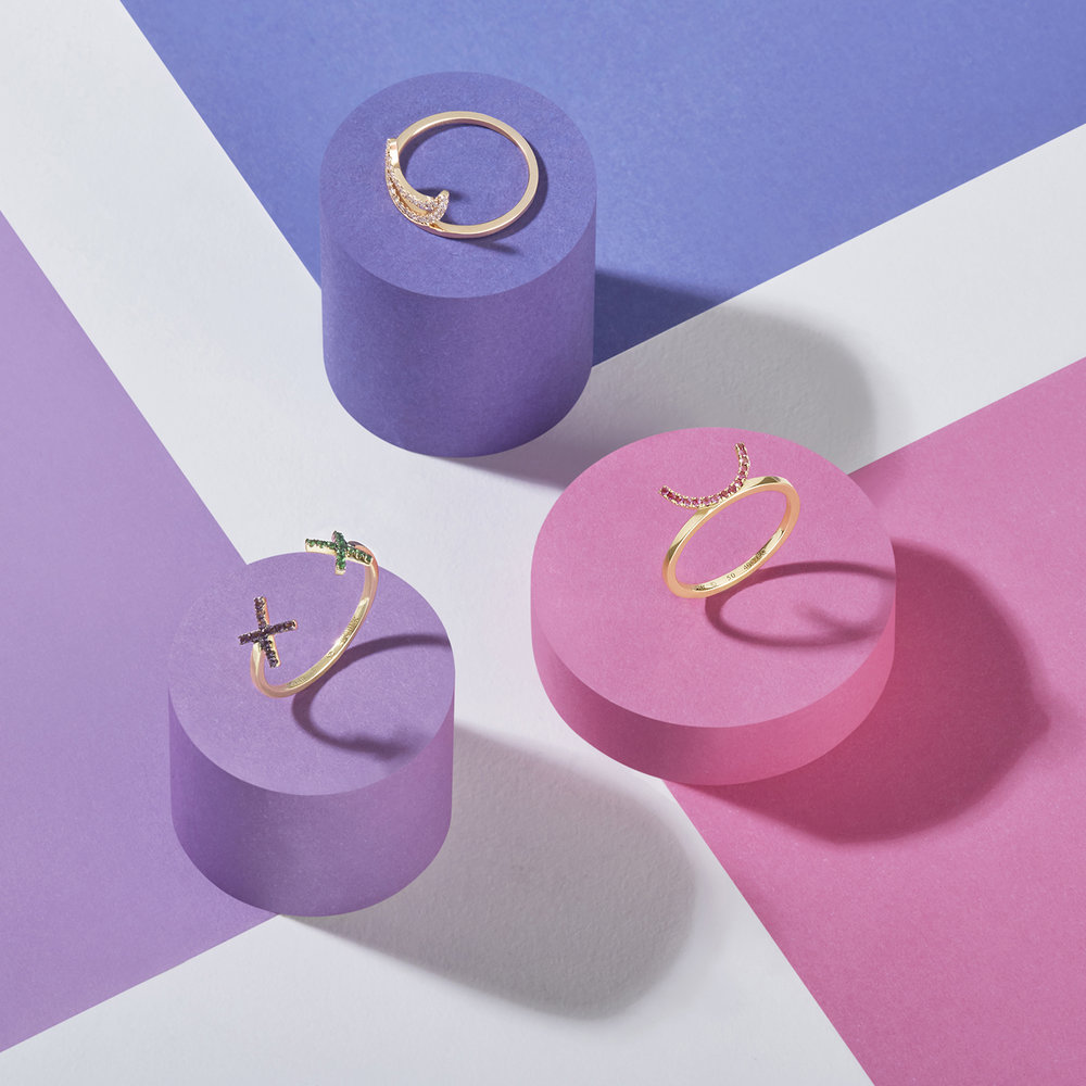 3 colours with jewellery. Rings on pillars creative set build photography in London