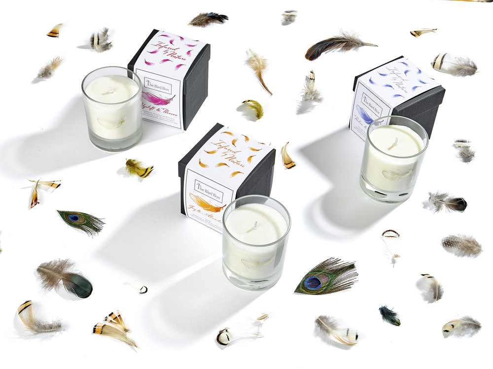 Still life product photography featuring luxury candle products from the bird box. Feathers surround products with large shadows. Product photography from chis howlett photography captured in London studio