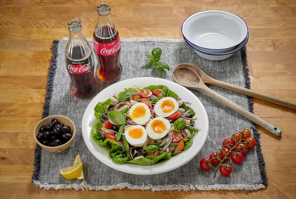 Food photography London, healthy tuna salad with coke drink products creatively styled and photographed by Still life photography Chris Howlett