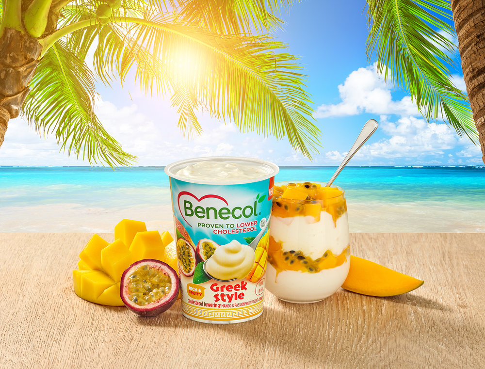 Creative product photography for advertising food campaign. Still life tropical theme for luxury food brand. Shoot in London photographic studios with a tropical beach theme and fresh ingredients.
