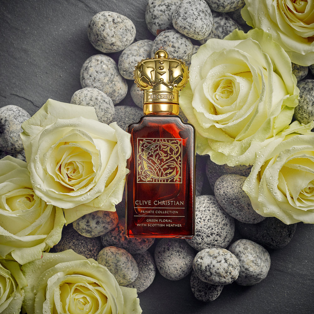 london fragrance brand, roses and pebbles lifestyle still life photography