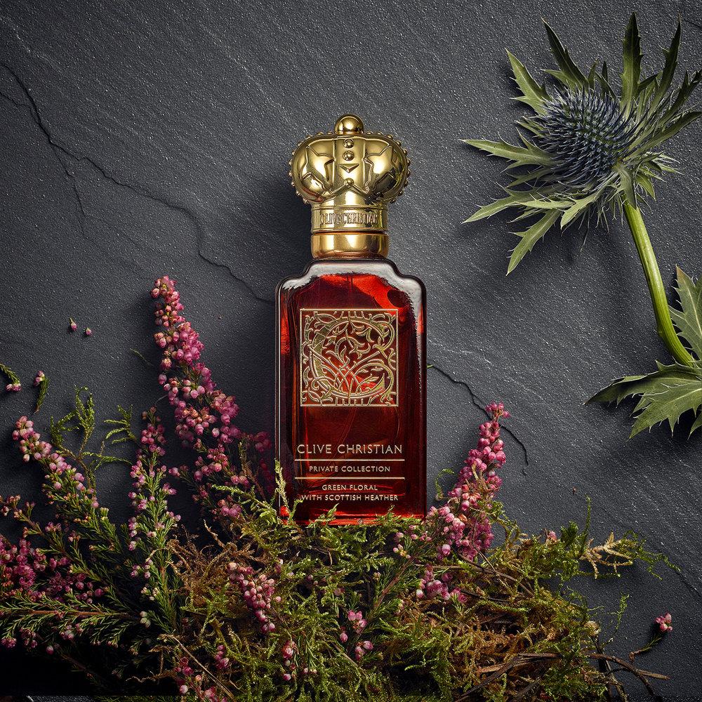 creative packshot photography. perfumes bottles overhead flat lay social media