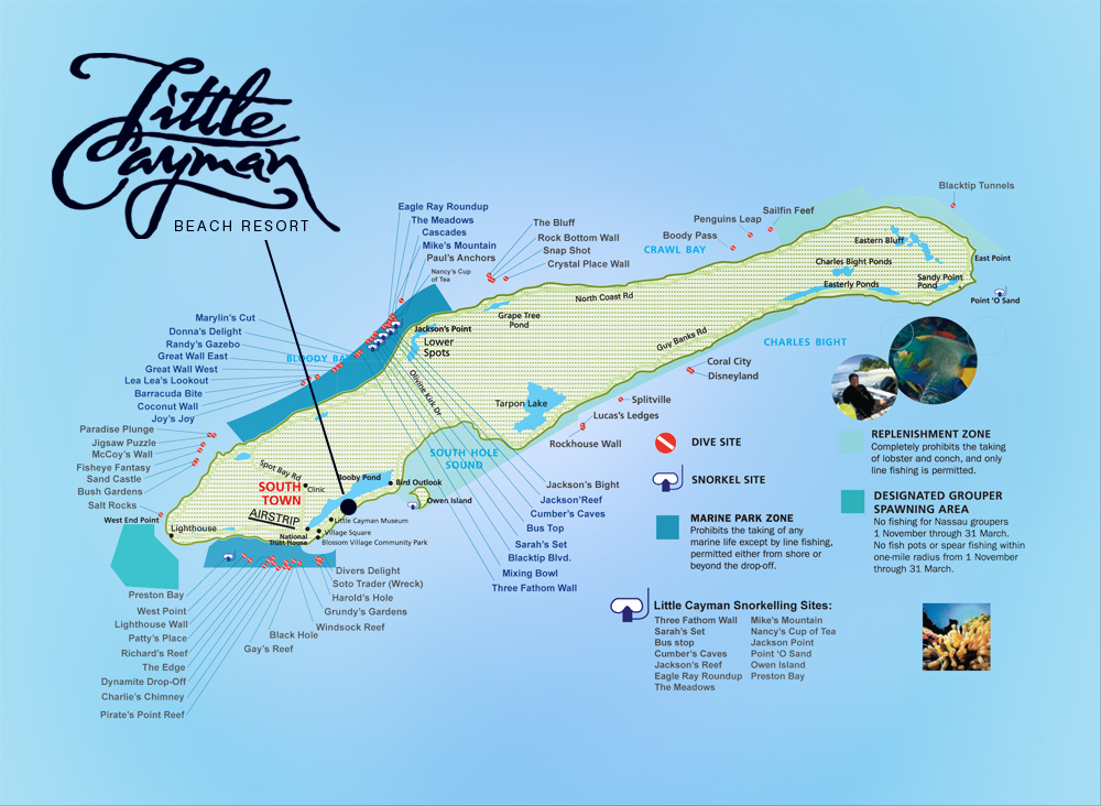 Click on the image to make it larger and for more detailed information check out Little Cayman Beach Resorts website here.