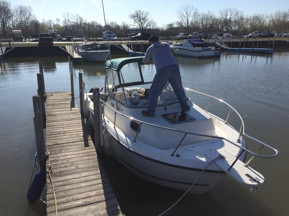 Captain and Diver Tim Brown is preparing The Penrose a 24' with a 225 outboard.