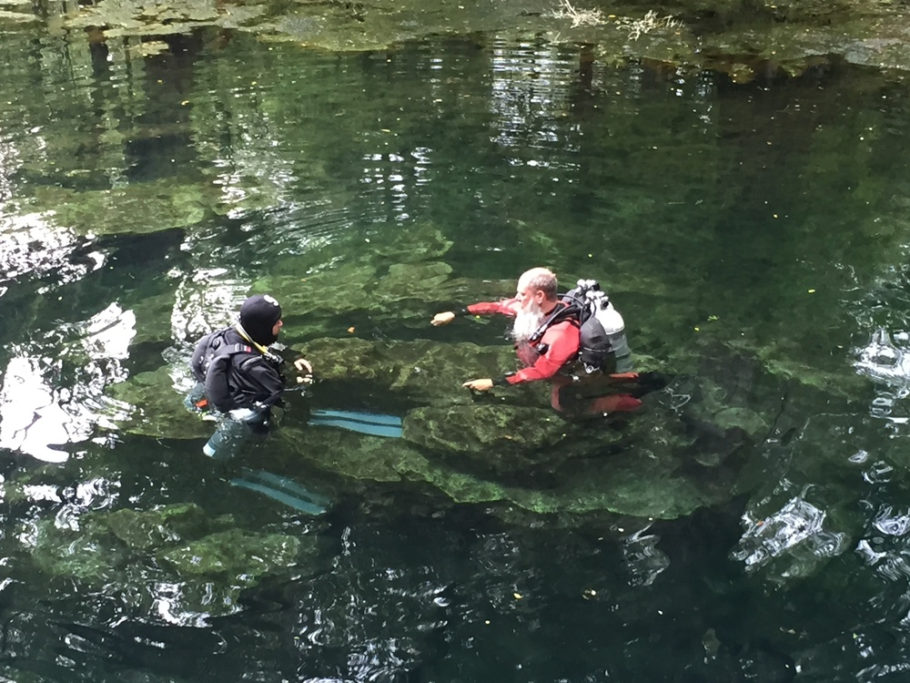 "TDI Cave Instructor Rob McGann putting Tim through the paces, ""I have double 108's filled to 3000 psi, what is my usable volume for this dive, you have 85's filled to 3600 psi what is your usable volume, who is the limiting factor, and what each of our turn pressure?"""