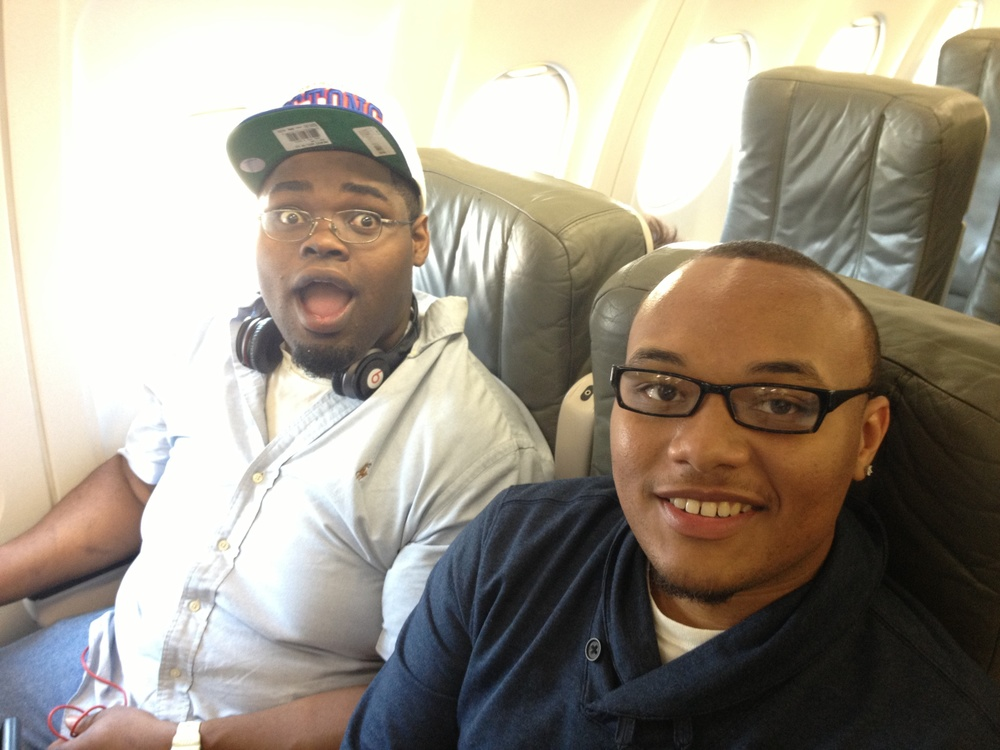 Chris, left, and Calvin, right, on Jet Blue heading to New York City