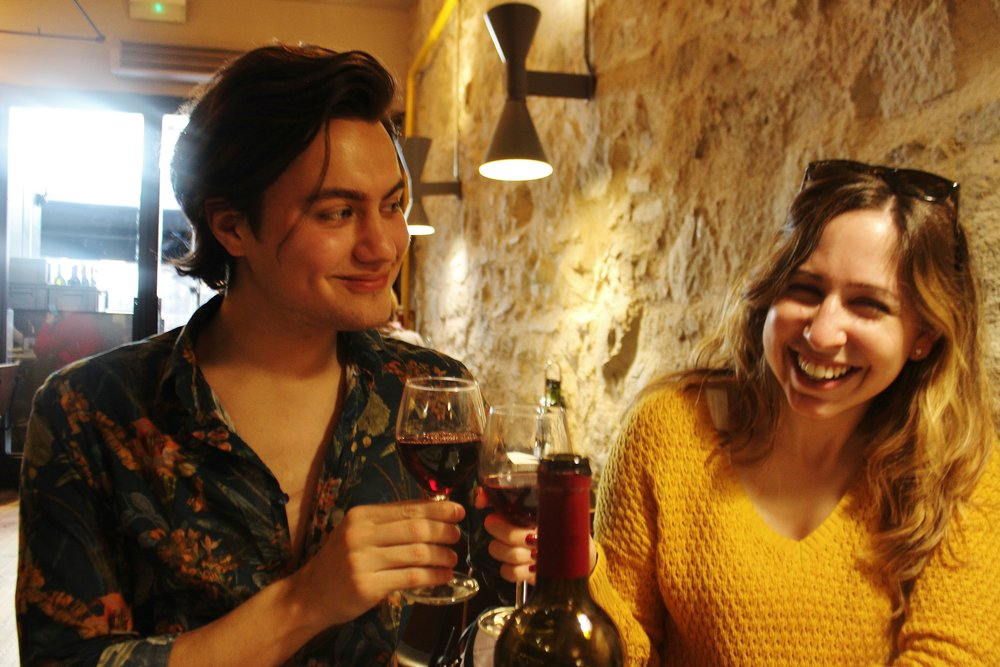 Dayra and I getting giggly off all that vino tinto!