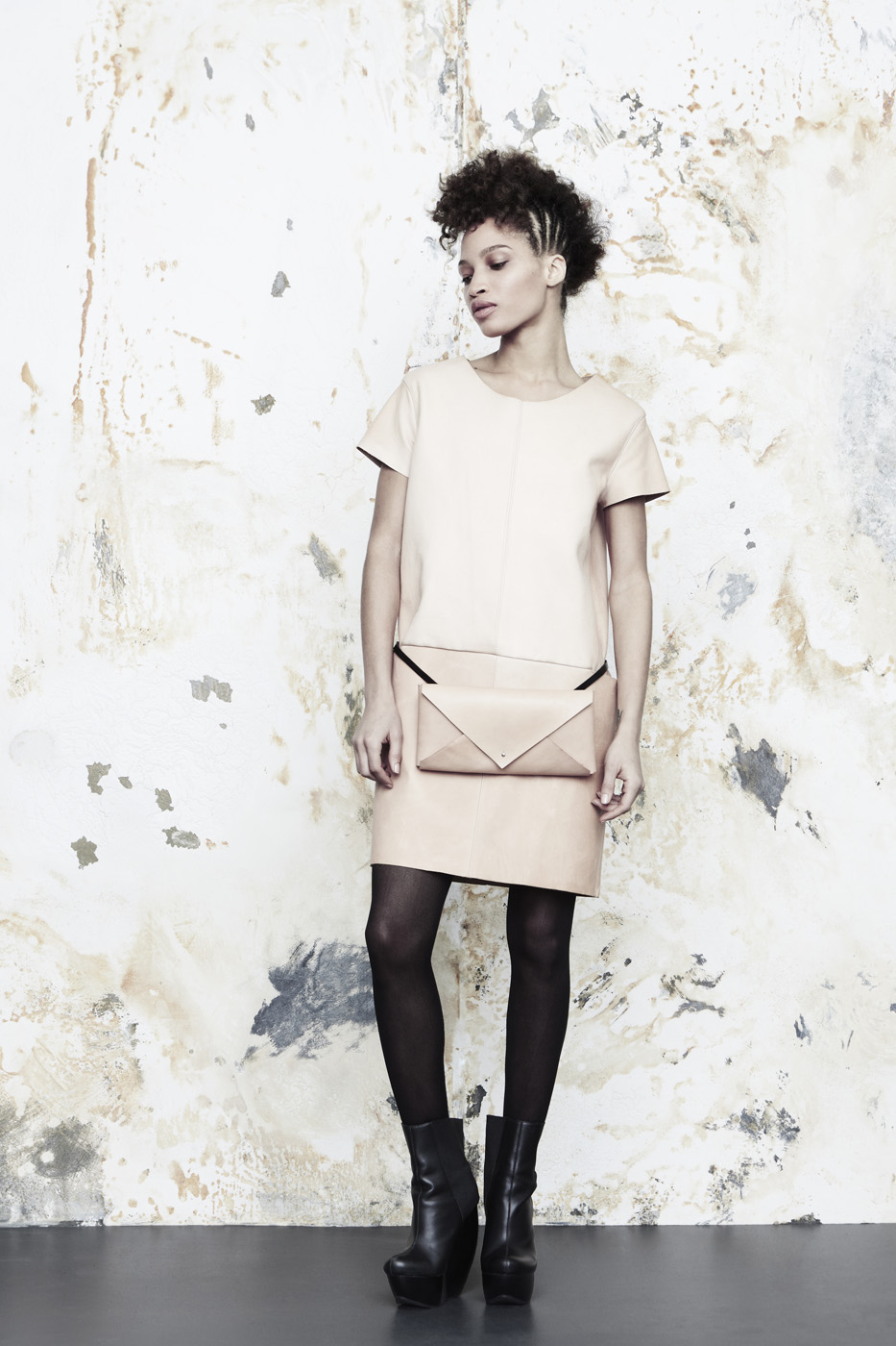 Dyad Dress and Envelope Fannypack in veg-tanned cowhide.