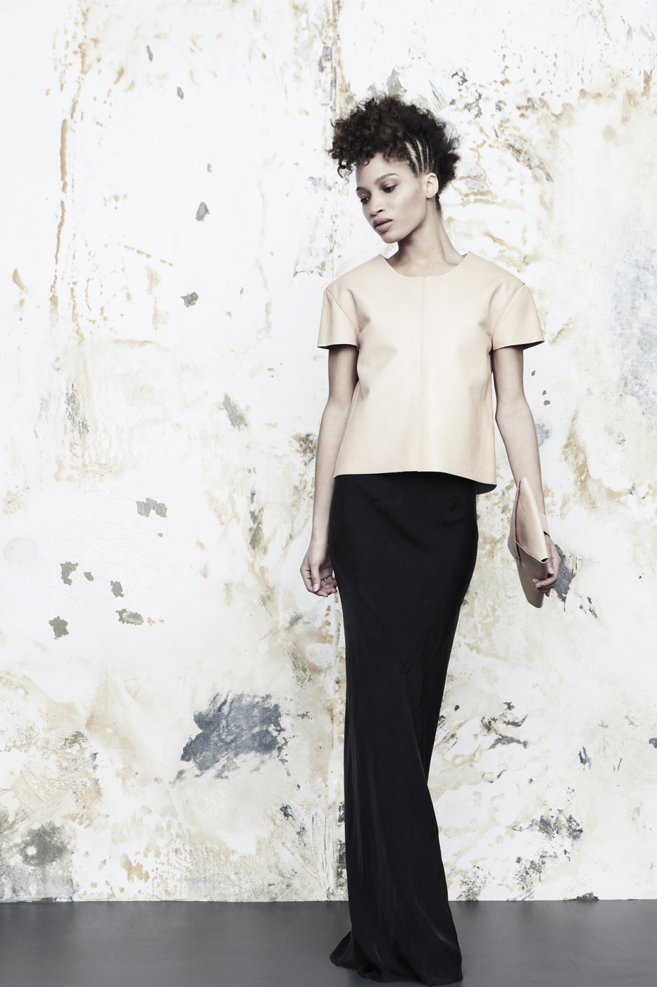 Mono Top + Envelope Clutch in natural veg-tanned cowhide +  Long Plunge Dress  in Japanese cupro.