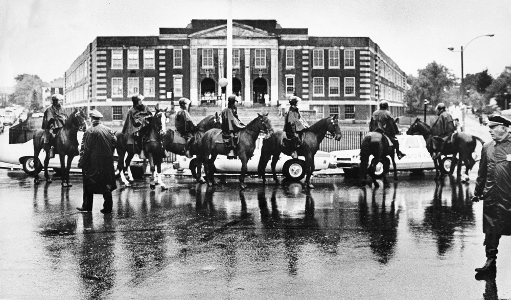 Mounted Police Officers Outside Hyde Park High School