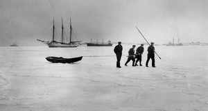 Captain Leads Crew Over Frozen Dorchester Bay 1934