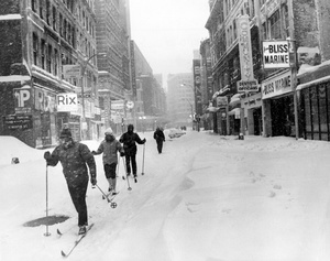 Blizzard of 1978: Cross-Country Skiers On Summer Street