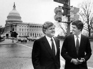Senators Ted Kennedy And John Kerry 1985