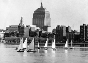 Sailing On The Charles River By The Boston Skyline 1969
